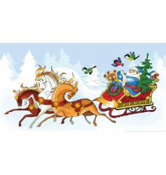 Santa Claus and the horses vector