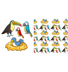 seamless background design with many birds vector image