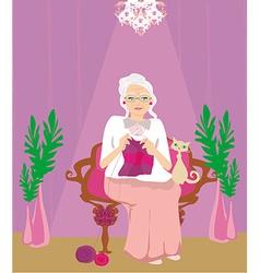 senior woman knitting vector image