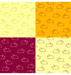 set seamless patterns with bunnies vector image
