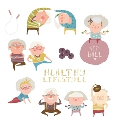Sey of elderly people doing exercises vector image