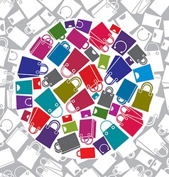 Shopping bags icon set with seamless pattern in vector image
