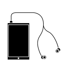 Silhouette smartphone earphones application modern vector