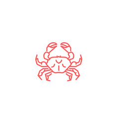 simple flat red crab icon linear slyle vector image