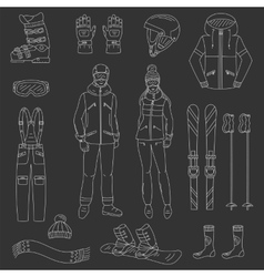 Ski and snowboard icons set vector image