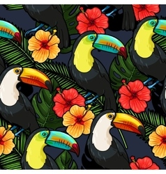 toucan and hibiscus seamless vector image