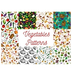 Vegetables herbs mushrooms seamless patterns set vector image