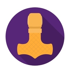Viking god hammer icon in flat style isolated on vector