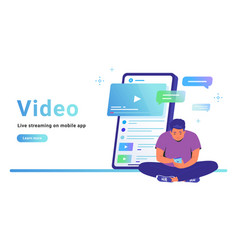 Watching video and live streaming on mobile app vector
