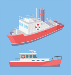 Water transport ferry with lifebuoy set vector