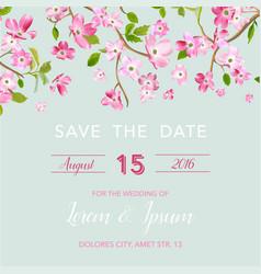 Wedding invitation spring floral frame vector