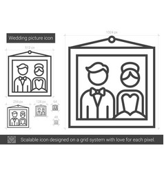 Wedding picture line icon vector