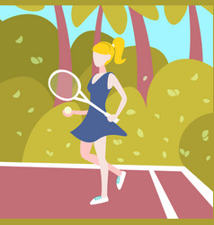 woman tennis player hold racket outdoor palm vector image