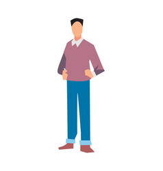 Young manager in sweater and jeans vector