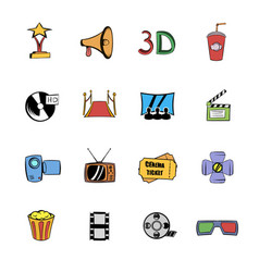 cinema comics icons set cartoon vector image vector image