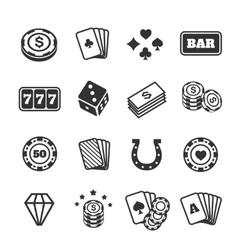 Gambling icons set casino and card poker game vector image