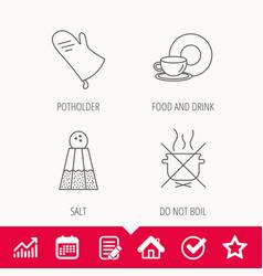 Salt potholder and food drink icons vector
