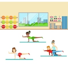 Yoga Class With Trainer Helping And Correcting vector image vector image