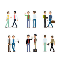 businessmen working concept collection on white vector image vector image