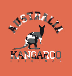 camouflage typography for clothes with kangaroo vector image