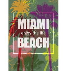 Color Tropical Background Exotic Banner with Palm vector image vector image