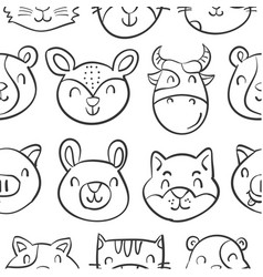 Head animal style funny doodles vector