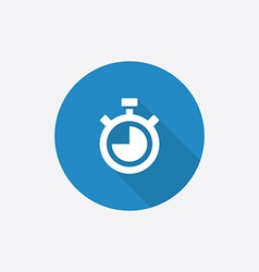 timer Flat Blue Simple Icon with long shadow vector image