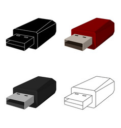 usb flash drive icon in cartoon style isolated on vector image