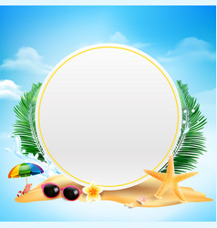 blank circle with copy space starfish flower palm vector image vector image