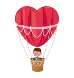 boy flying heart airballoon valentine day vector image vector image