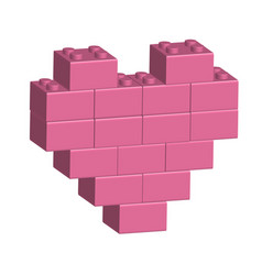 building bricks in 3d pink heart vector image vector image