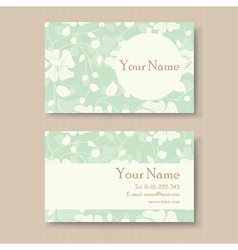 business card with green floral background vector image vector image