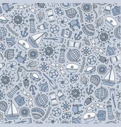 cartoon nautical seamless pattern vector image