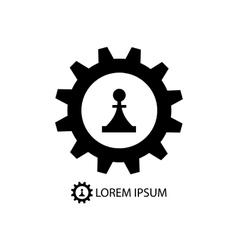 Gear wheel and piece as logo vector image