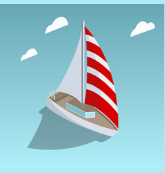 sailing yacht isometric style vector image vector image