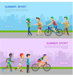 summer sport web banner in flat design vector image vector image