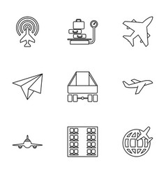 9 airplane icons vector