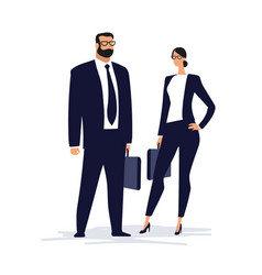 A couple in business suits are standing vector