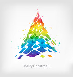 abstract multicolor christmas tree isolated on vector image