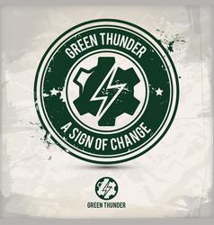 alternative green thunder stamp vector image
