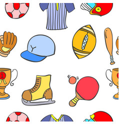 Art sport equipment doodles vector