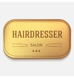 Banner Leather label hairdresser logo or vector