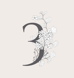 Blooming floral number 3 monogram and logo vector