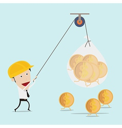 Business man use the rope pull money vector