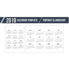 calendar grid for 2019 year on white background vector image