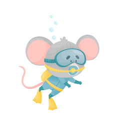 Cartoon koala wearing diving suit snorkeling vector