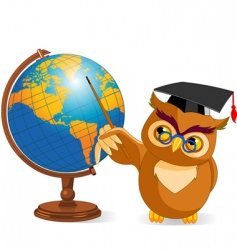 cartoon wise owl with world globe vector image