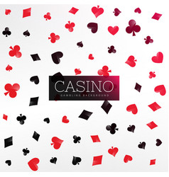 casino background with poker card elements vector image