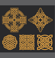Celtic cross and knot set ethnic ornament vector