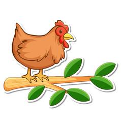 Chicken standing on a branch sticker vector
